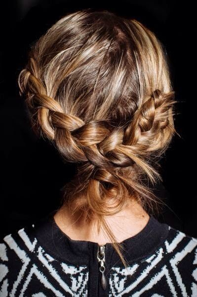 loosely-tied braids