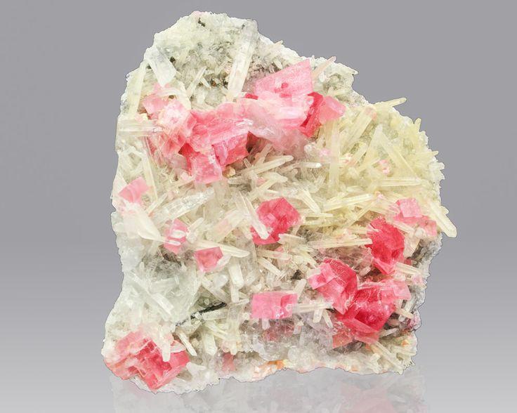 "2.3"" RosyRed RHODOCHROSITE 15 Crystals +NeedleQuartz Sweet Home Mine CO"