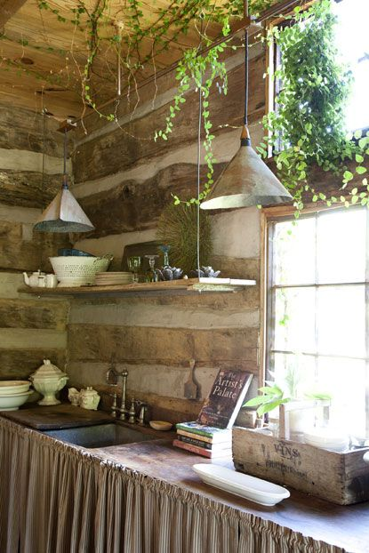 Rustic, log cabin kitchen full of nostalgia ... #log cabin #kitchen