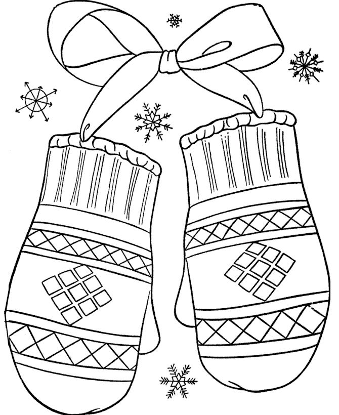 mittens christmas coloring pages pinterest