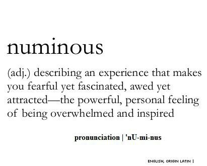 numinous - the powerful, personal feeling of being overwhelmed and inspired #words skydiving to a tee