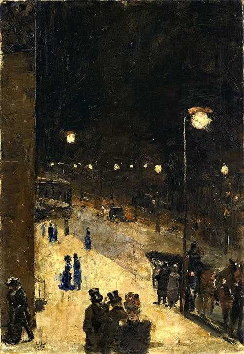 Lesser Ury Berlin Street at Night, 1889