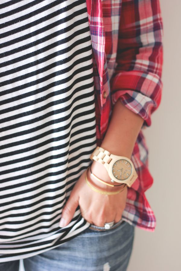 Pattern mixing for fall/winter: stripes and flannel.