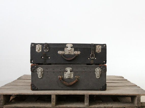 Vintage Black Luggage / 1930s Hardboard Suitcase by 86home on Etsy, $148.00