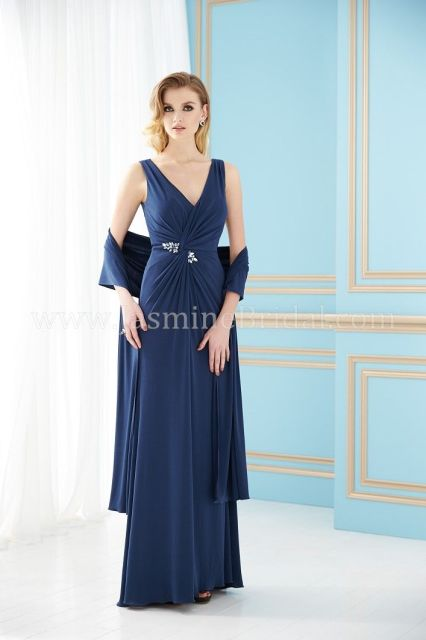 #Jasmine #Jade #Mothers #Dresses, Fall 2013. #Matte #Jersey#V-neck gown with shawl & Sweep train. Skirt length can be changed to #tea-length or #knee-length. Pictured in #Navy. #aebridal