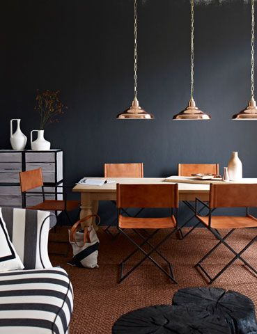 navy and copper dining room
