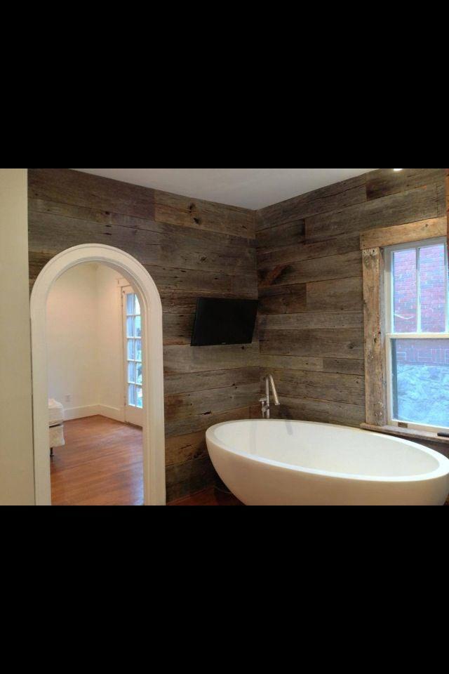 Rustic modern bath, Barn wood supplied by Good Wood Nashville (www ...