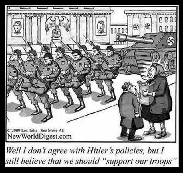 """Picture of two old people talking next to Nazi troops marching down the street. """"Well, I don't agree with Hitler's policies, but I still believe that we should support the troops."""""""