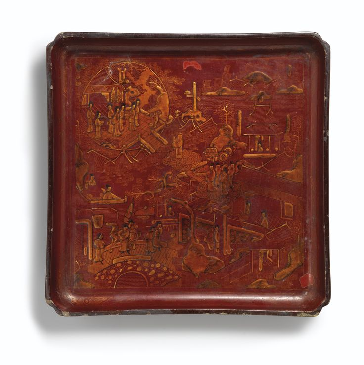 A rare red lacquer 'zhaojin'-decorated square tray, Mark and period of Tianqi
