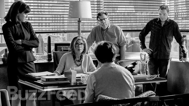 """Inside Diane Lockhart's office: Julianna Margulies, Christine Baranski, and Robert King. 