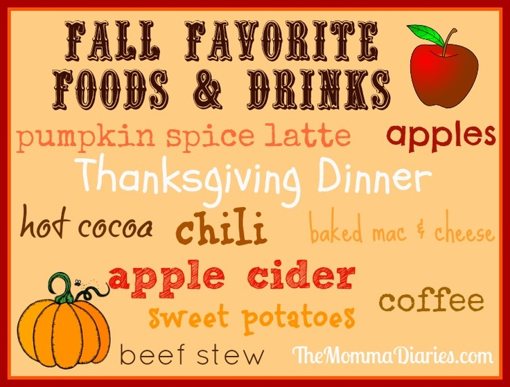 Fall Favorite Foods & Drinks (via themommadiaries.com)