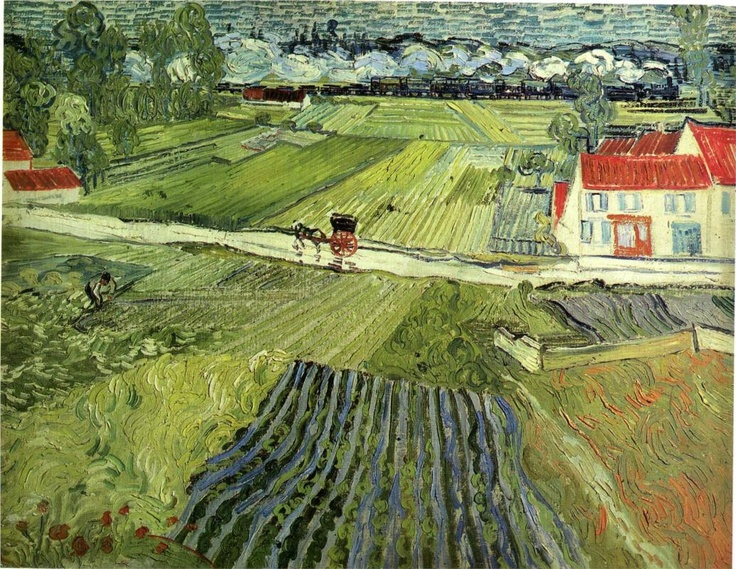 Landscape with Carriage & Train,1890 Vincent van Gogh