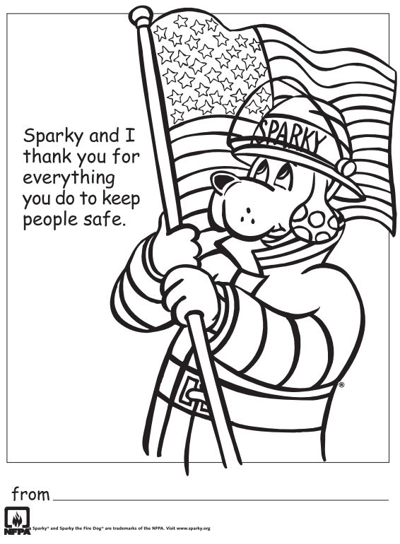 free printable thank you firefighters coloring sheet