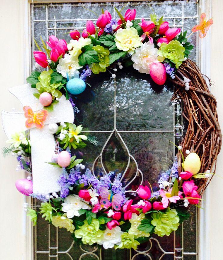 easter cross grapevine wreath easter pinterest