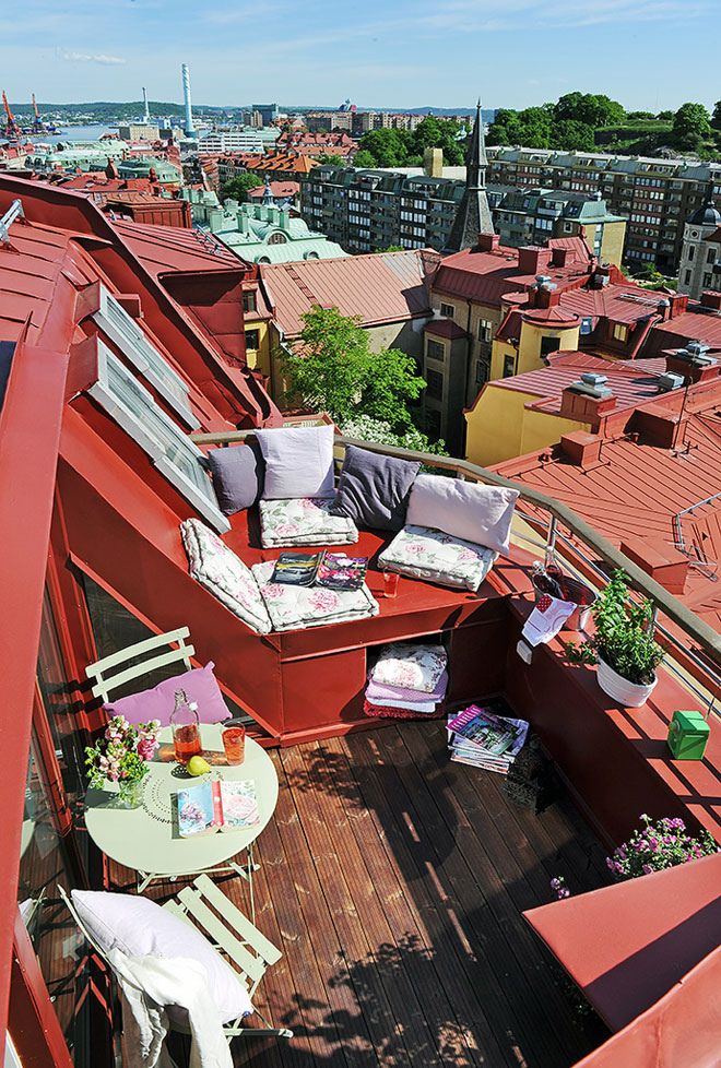 rooftop terrace, Gothenburg, Sweden: Fantasising about sipping espresso and reading my favourite book on this apartment's terrace