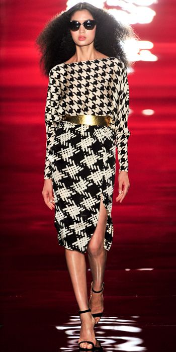 REEM ACRA: Black/white houndstooth top with crosshatch side slit skirt