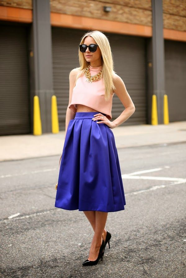 { pink crop top + blue skirt }