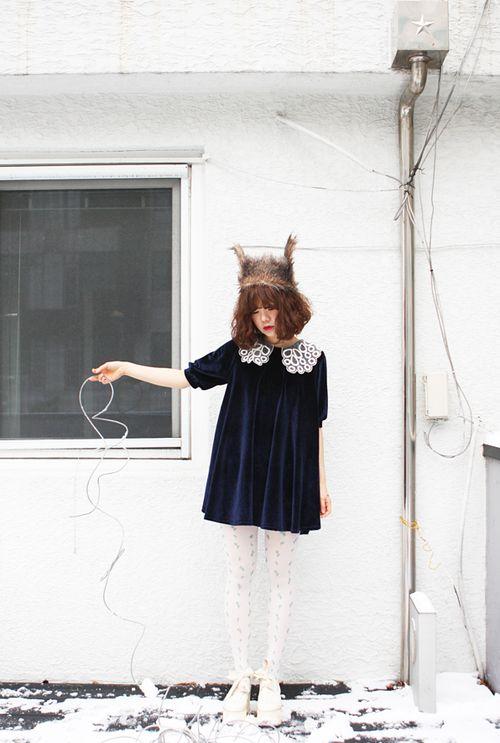 Velvet dress, Animal hat
