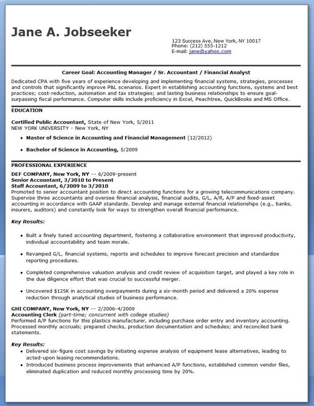Cpa Resume Example. Example Certified Public Accountant Resume