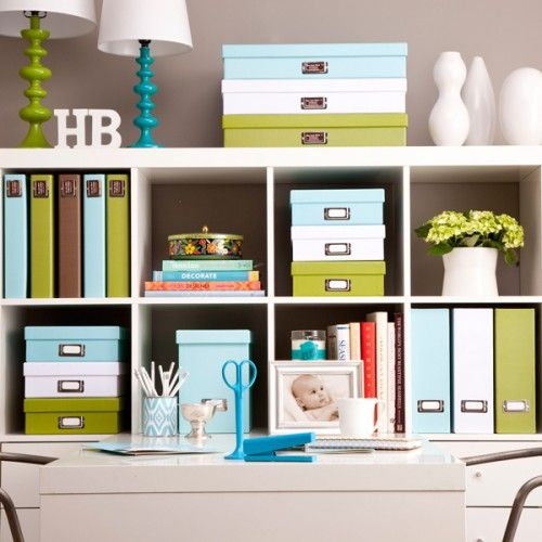 organized office in blue, green, white