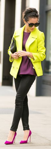 Winter Neon :: Wool Peacoat & Magenta Pumps by Wendy's Lookbook