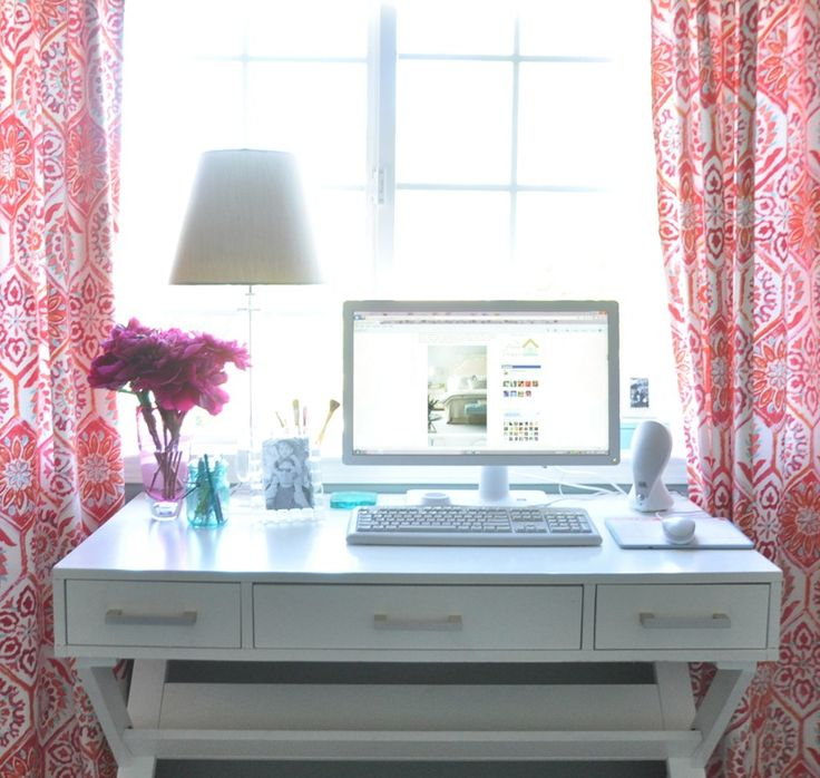 Great small desk (up to a window) and curtains // Centsational Girl blog