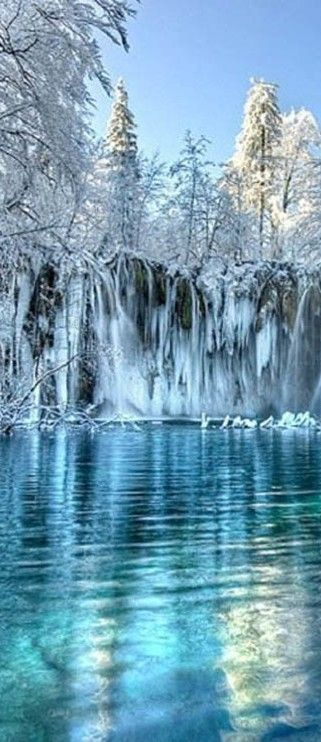Winter at Plitvice Lakes National Park in Croatia