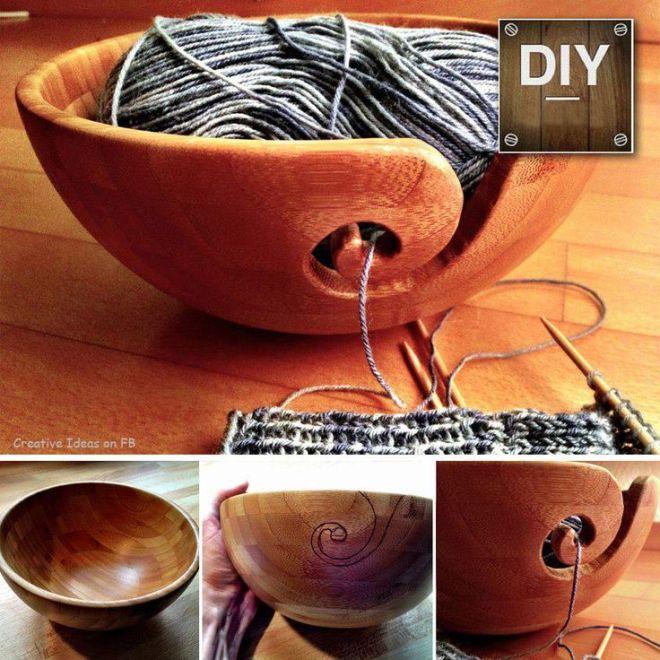 Diy wooden yarn bowl yarn bowlsi love these pinterest