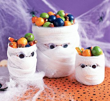 Cover mason jars, baby food jars, water bottles with gauze & googlie eyes