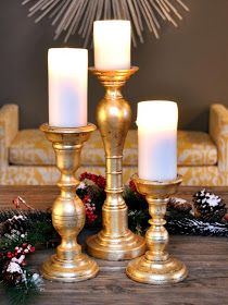 House of Fifty Blog: How To Make Gold Leafed Candlesticks