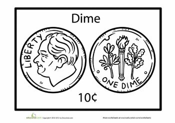 The Us Dime Enchanted Learning Sketch Coloring Page
