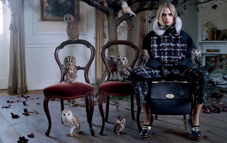 Mulberry Autumn Winter 2013 campaign, starring Cara Delevingne, shot by Tim Walker. Featuring the Suffolk bag.