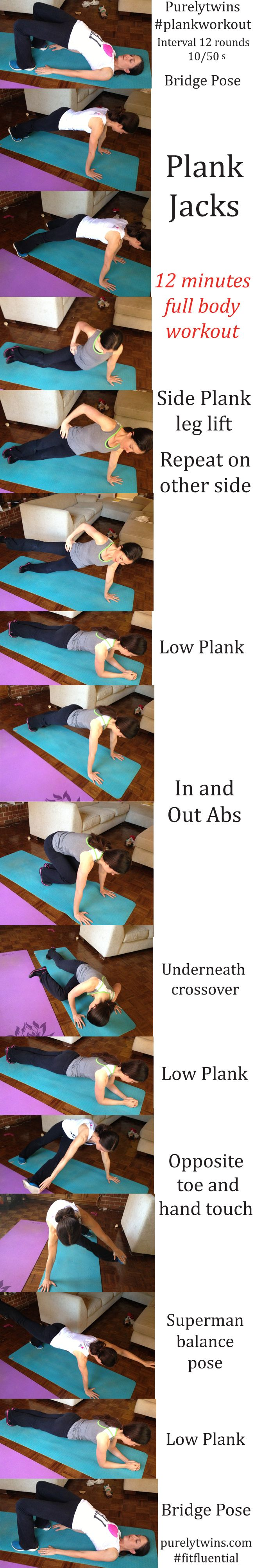 12-minute plank workout. I love planks, really works the whole body and engages the core.