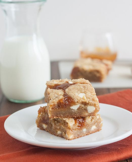 Salted Pumpkin Caramel White Chocolate Cookie Bars by @Tracey's Culinary Adventures I Tracey Wilhelmsen
