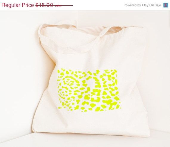 SALE Screen printed tote bag neon leopard print by CThandmade