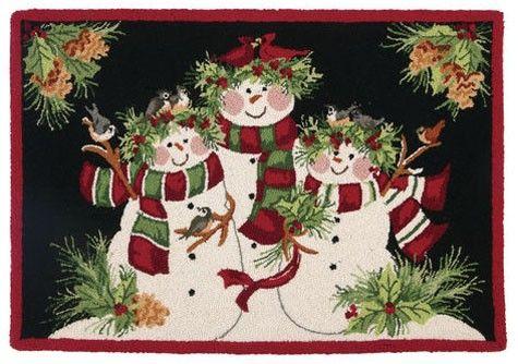 Christmas Rug Snowman Family Rug Christmas Kitchen