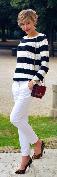 Fashionista: White Stipes Sweater and White Jeans