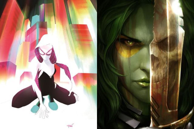 Marvel announces several new female led and written comic series, including Gamora, Spider-Gwen, Silk, and Peggy Carter, along with a YA novel about Black Widow!