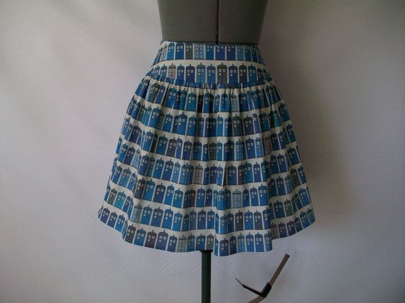 Blue Police Boxes Skirt by ComplementsByJo on Etsy