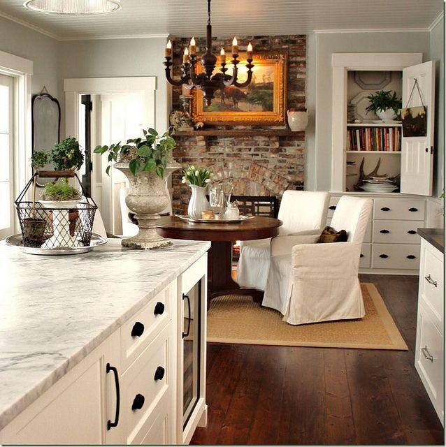 Kitchen, fireplace