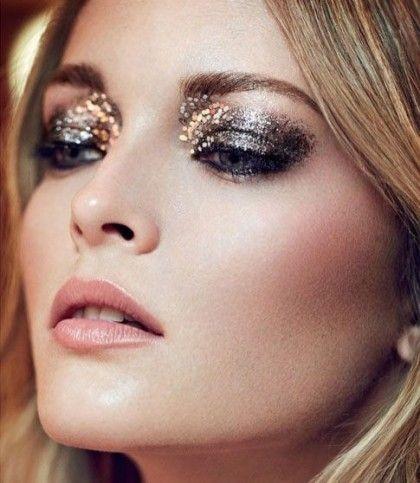 Glittery eye makeup.