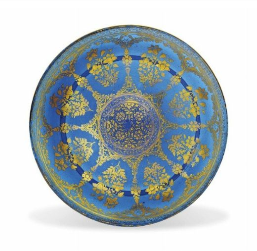 A fine gilt blue glass dish, Mughal India, First half 18th century