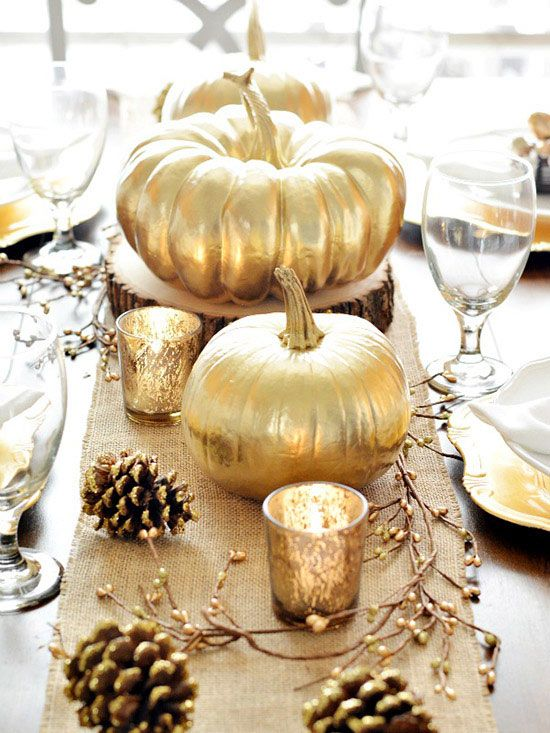 Make a Metallic Pumpkin Table Runner