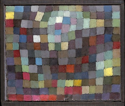 May Picture by Paul Klee:  one of Paul Klee's Magic Square series of oil paintings and watercolors that derive from the 1914 Tunisian watercolors in which he fractured the landscape into squares. They are also related to Klee's preoccupation with the laws of color, prompted by his teaching at the Bauhaus. #Painting #Paul_Klee #Magic_Squares