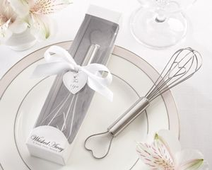 Stainless-steel whisk with hearts woven into the design. A whimsical wedding favor for the lucky one who's been whisked away! #whiskedaway #whisk #wedding #favors http://favorcouture.theaspenshops.com/whisked-away-white-box.html