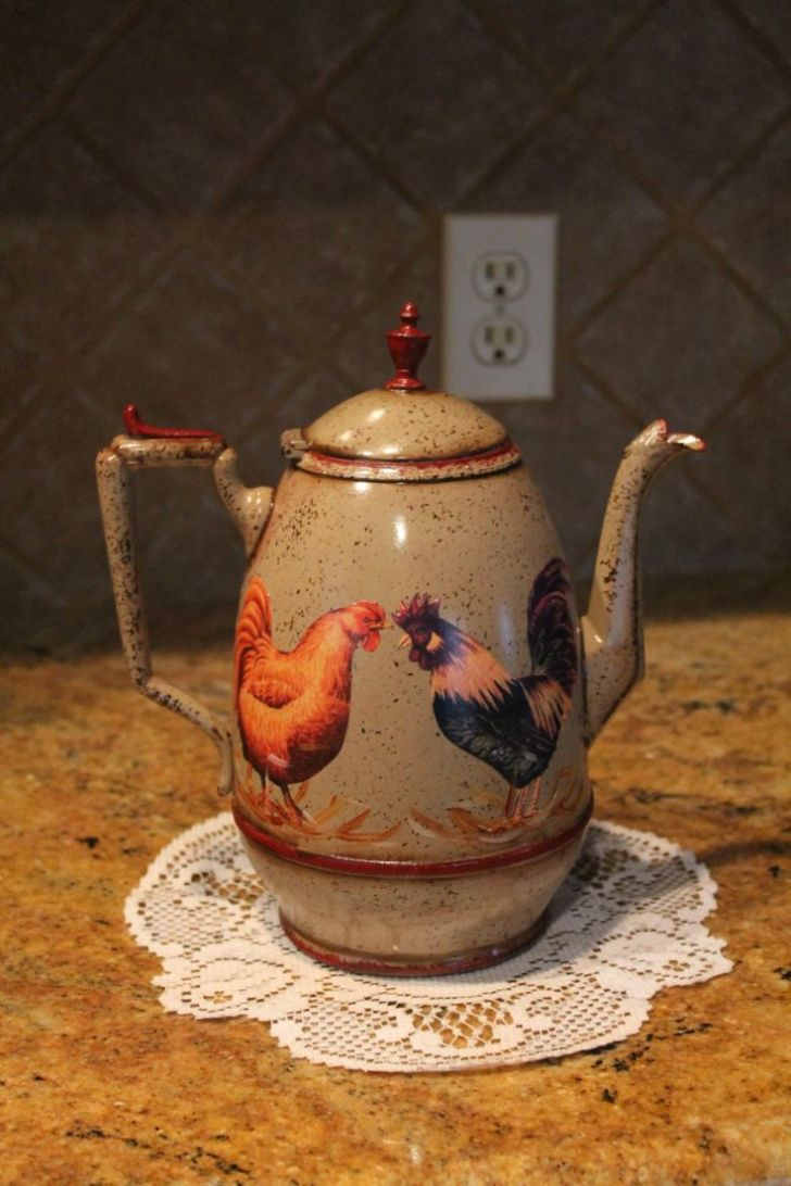 Pot Kitchen Decor Country Rooster Collector