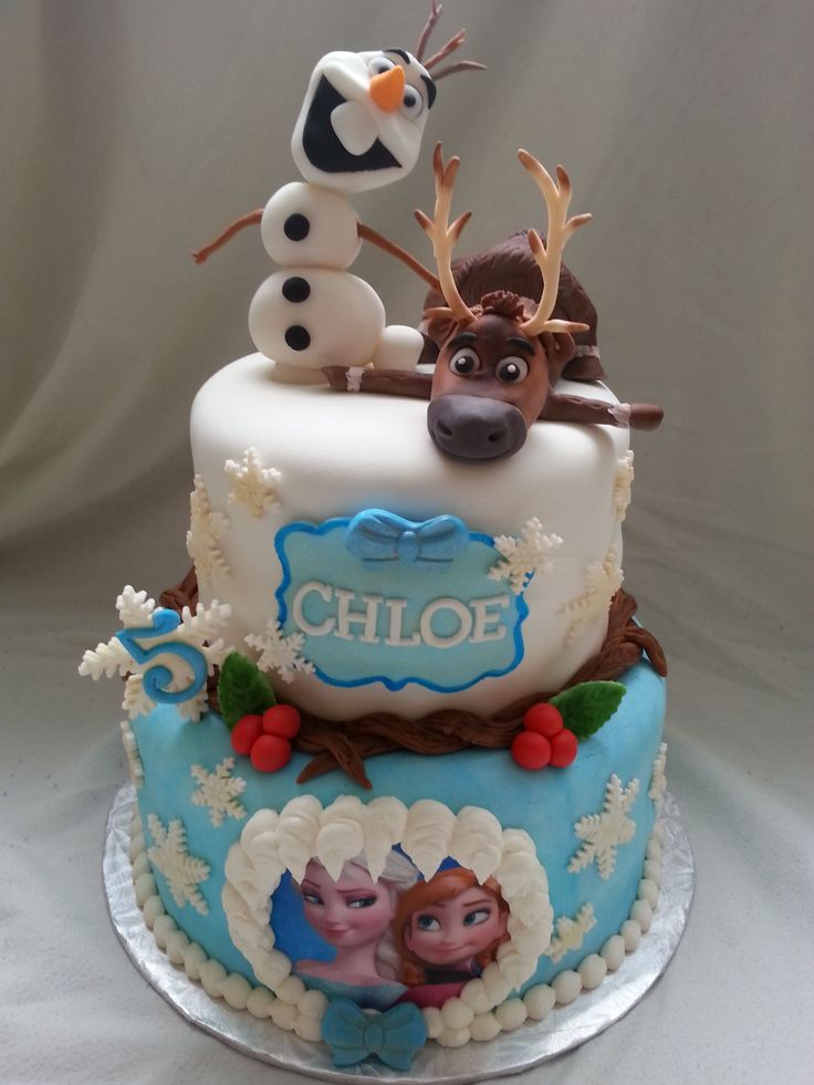 Disney Themed Cakes - Frozen themed birthday cake with handmade details and figures