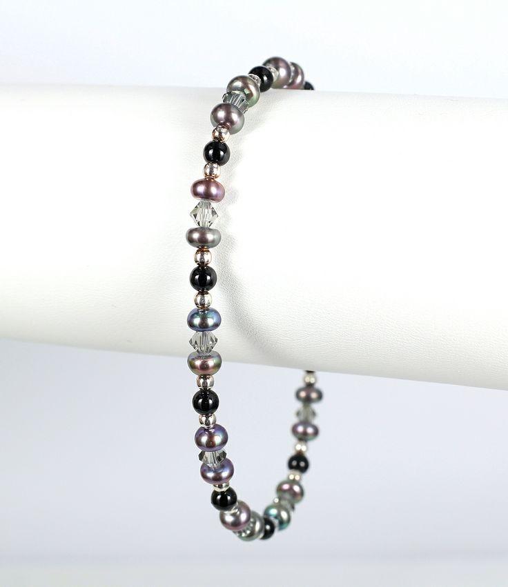 Peacock pearl, dark grey crystal, and sterling silver bracelet