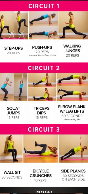 Another awesome Fitsugar full body circuit! repeat each circuit 2x, resting 60 sec between each, with a 5 min warmup and cool down