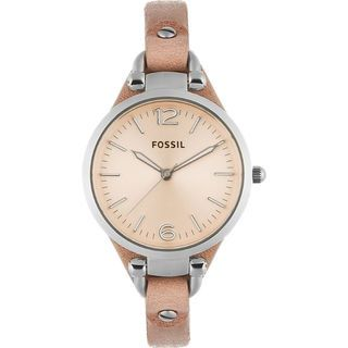 Fossil Women's Georgia ES2830 Beige Leather Analog Quartz Watch with Beige Dial